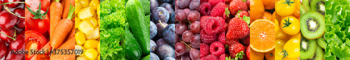 Fototapeta Background of fruits, vegetables and berries. Fresh food. Healthy food obraz