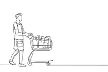 One Single Line Drawing Young Happy Man Pushing Trolley Buying Milk, Daily Goods, Organic Product At Wholesale Store. Commercial Retail Shopping Concept. Continuous Line Draw Design Illustration