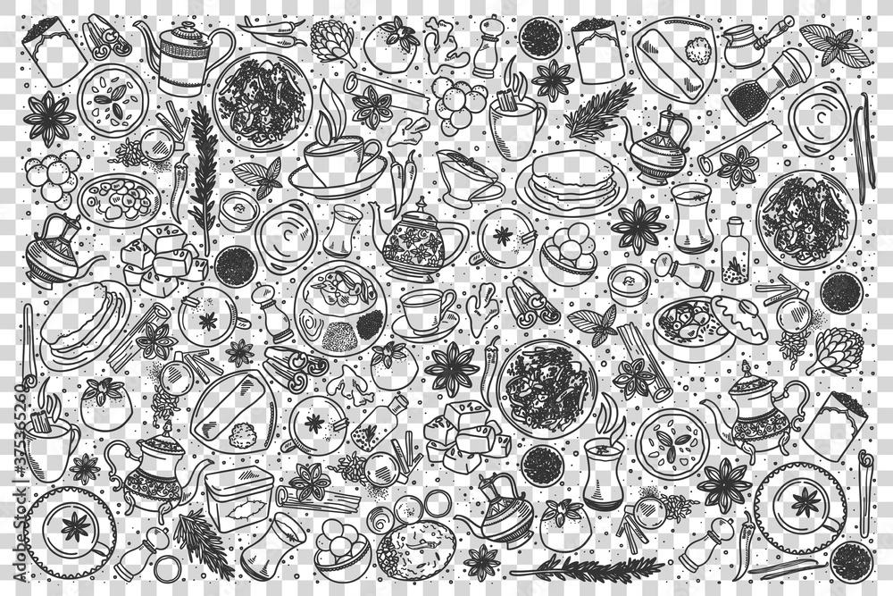 Fototapeta Indian food doodle set