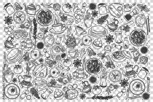 Fototapeta Indian food doodle set obraz