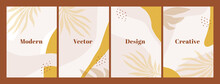 Stylish Set Of Templates With Abstract Shapes And Hand Draw Leaves In Pastel Colors. Neutral Background In Boho Style. Vector Illustration