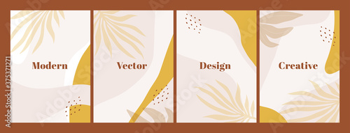 Photo Stylish set of templates with abstract shapes and hand draw leaves in pastel colors