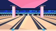 Empty Bowling Alley. Sport Club Interior.