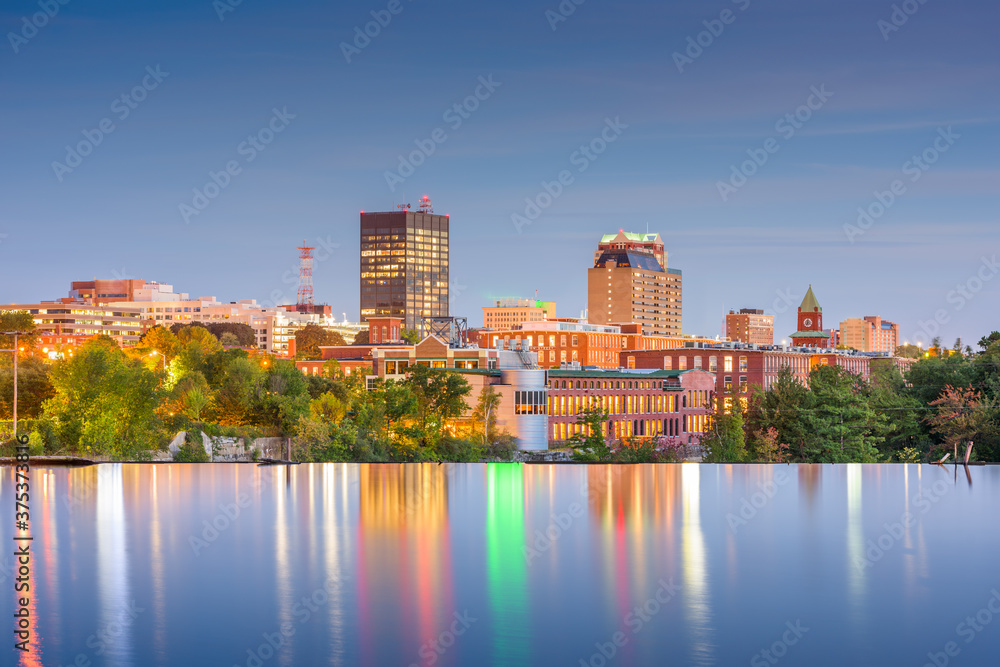 Fototapeta Manchester, New Hampshire, USA Skyline on the Merrimack River