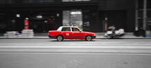 Cars On The Road Red Taxi Hong...