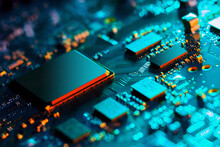 Electronic Circuit Board With Electronic Components Such As Chips Close Up. Blurry Background.
