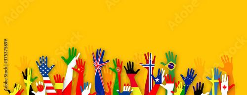 Fotografie, Obraz mani, bandiere, lingue, lingue del mondo