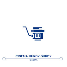 Cinema Hurdy Gurdy Icon On Whi...