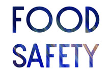 FOOD SAFETY. Colorful Isolated Vector Saying