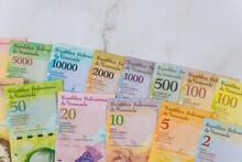 Series Of Banknotes With Different Paper Bills Currency Venezuelan Bolivar, Venezuela Economic Crisis
