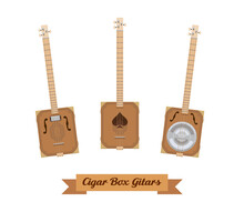Guitar Set. Realistic Cigar Box Guitars On White Background. Musical Instruments. Vector Illustration