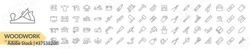 Foto Woodwork tools line icon set