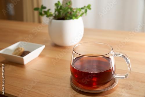リビングで過ごす午後_紅茶とクッキーと観葉植物