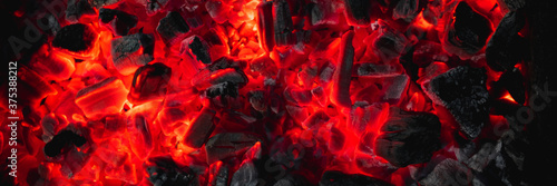 Valokuvatapetti hot red coals among black ash, wallpapers for mobile devices, abstract