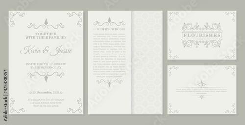 Papel de parede collection Invitation card vector design vintage style