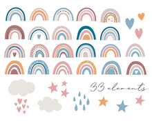 Baby Rainbow Vector Illustrations, Trendy Boho Rainbows