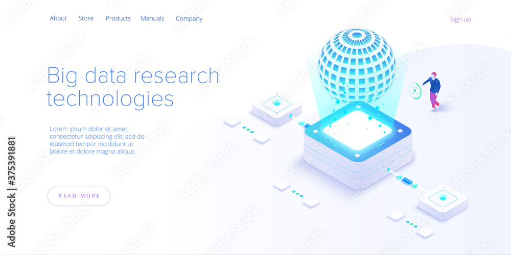 Fototapeta Big data technology in isometric vector illustration. Information storage and analysis system. Digital technology website landing page template.