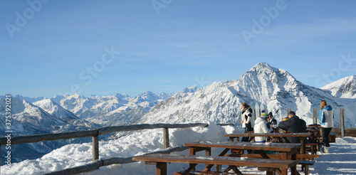 Slika na platnu terrace on the alps in a San Sicario cottage overlooking mount Chaberton and sus