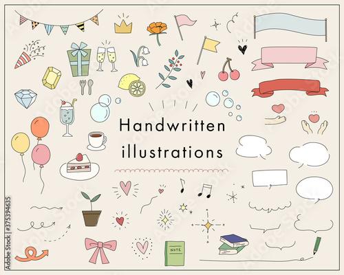 色々な手描きイラストのセット/かわいい/ハート/リボン/音符/フレーム/吹き出し/おしゃれ/