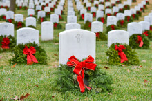 Tombstones And Wreaths In Arlington National Cemetery, Washington DC