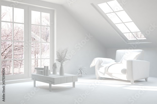 White stylish minimalist room with armchair and winter landscape in window Wallpaper Mural
