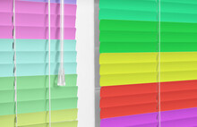 Closed Multicolor Window Blinds As Background, Closeup View