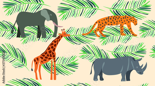 Fotografiet Animals pattern with tropical leaves. Vector seamless texture.