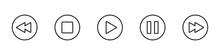 Media Player Icon Button Set. Vector Line Symbol Design.