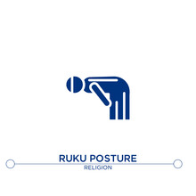 Ruku Posture Icon On White Background.Flat Vector Ruku Posture Icon Symbol Sign From Religion Concept. Can Be Used For Web And Mobile
