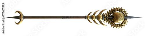 staff with a skull wooden with gold on an isolated white background Fototapet