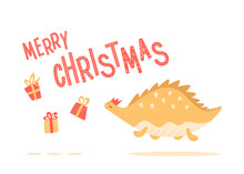 Merry Christmas Cute Card With Dino Runs After Gifts. Funny New Year Print. Kids Illustration. Yellow Abstract Dinosaur Jumping And Fluttering. Cartoon Character.