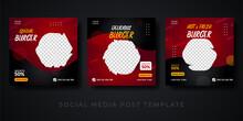 Burger Menu Restaurant Promotion Social Media Banner Template