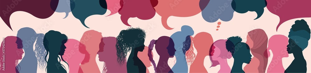 Fototapeta Silhouette group multiethnic women who talk and share ideas and information. Women social network community. Communication and friendship women or girls diverse cultures. Speech bubble