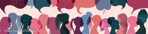 Fototapeta Silhouette group multiethnic women who talk and share ideas and information