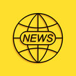 Black World and global news concept icon isolated on yellow background. World globe symbol. News sign icon. Journalism theme, live news. Long shadow style. Vector.