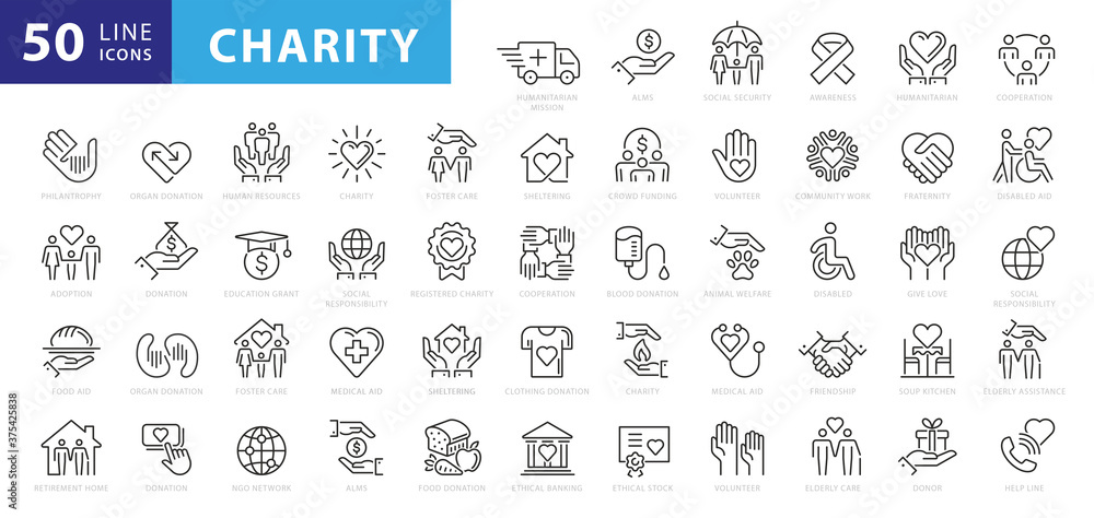 Fototapeta charity and donation icon set, line style