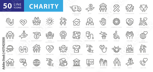 Leinwand Poster charity and donation icon set, line style