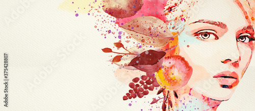 Fototapeta Autumn. Watercolor abstract portrait of girl. Fashion background. obraz
