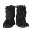black fur boots isolated on white background