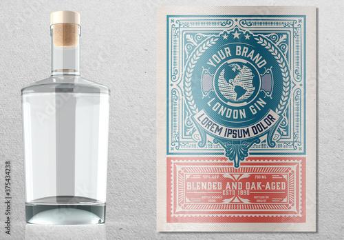 Fototapeta Vintage Liquor Label Packaging Layout