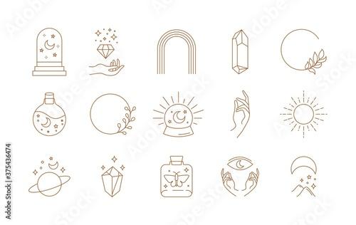 Boho doodle linear set. Magic mystic hand drawn simple logo icons with crystal eye sun moon. Abstract vector illustration