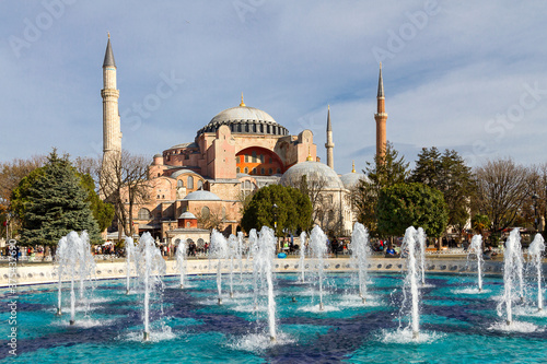 Sultanahmet Square with the fountain and Hagia Sophia in the background, in Ista Fototapeta