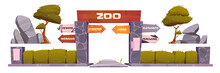 Zoo Entrance With Wooden Board On Arch. Vector Cartoon Set Of Zoological Garden With Entry Gates, Direction Signs To Different Animals, Stones, Trees And Bushes Isolated On White Background