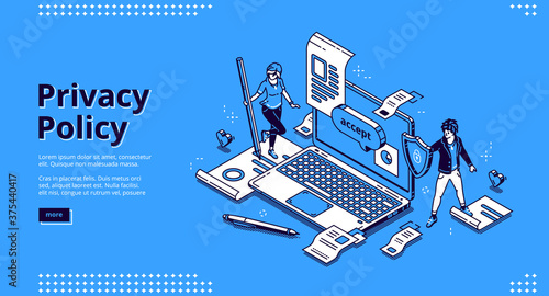 Obraz Privacy policy isometric landing page, data protection, digital security, personal confidential information online safety. Tiny people at huge laptop with shield and docs 3d vector line art web banner - fototapety do salonu