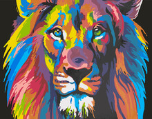 Colorful Paintings. Wild Animals In Colors. Lion