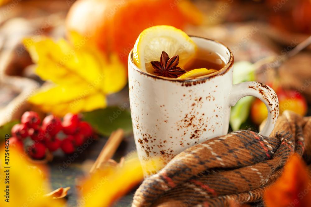 Fototapeta Autumn or winter spice tea in mug with seasonal fruits, berries, pumpkin and leaves on wooden table.
