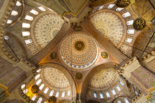 Domes Of The Historical New Mosque Known Also As Yeni Cami Mosque In Istanbul, Turkey
