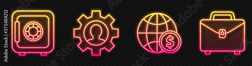 Set line Earth globe with dollar, Safe, Human with gear inside and Briefcase Wallpaper Mural