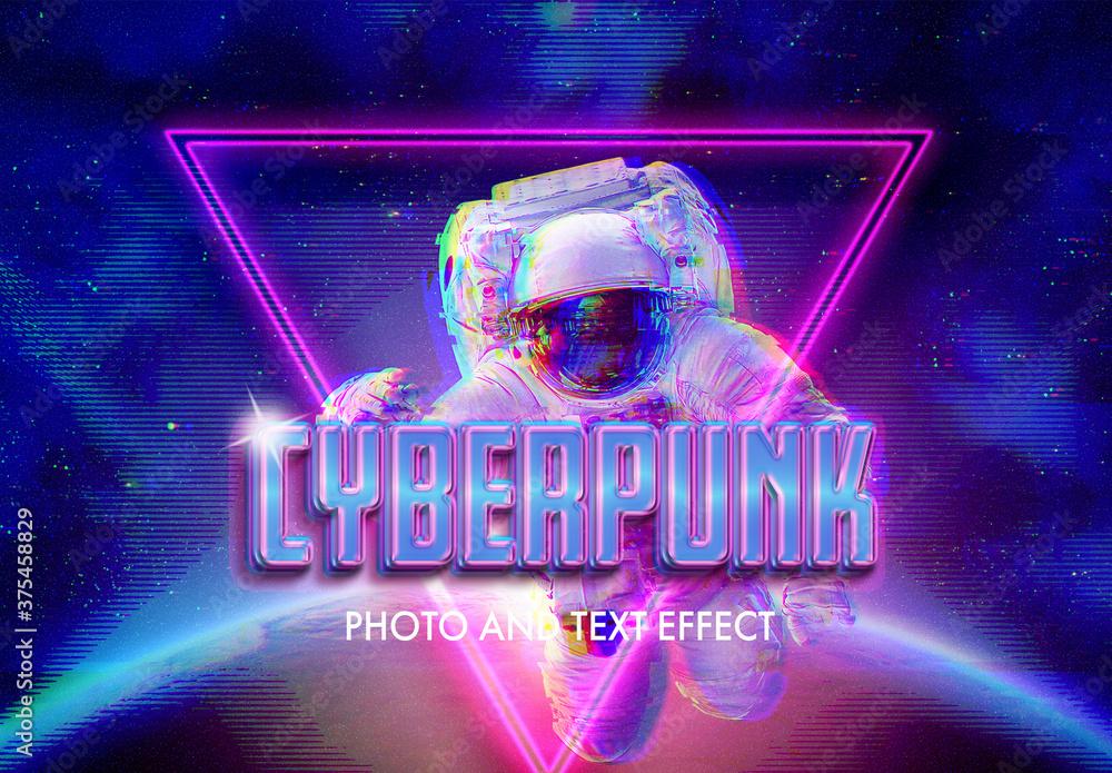 Fototapeta Cyberpunk Style Text and Photo Effect
