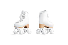 Blank White Roller Skates Mockup, Front And Back View